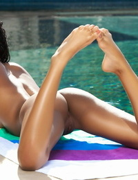 All innate captured beauty Noelle Monique flaunts perfect medium tits poolside