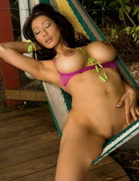 Cockblowers Asian stunner with fat chubby bent Kiana Kim poses naked outdoors