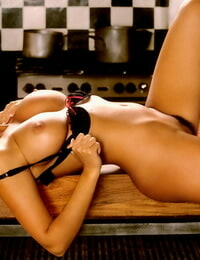 Gorgeous brunette Amber Campisi getting oiled while flaunting her bod