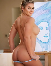 Artistic ash-blonde model Tahlia Paris gushes her huge boobs and paints her body
