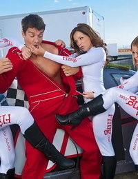 Pit chick Nikki &her hot friends reward the race winner with outdoor groupsex