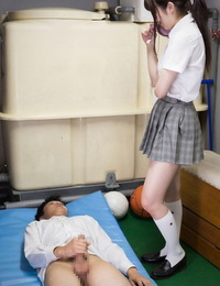 Cute schoolgirl gets her little cunt licked while pussy-smothering in the playroom