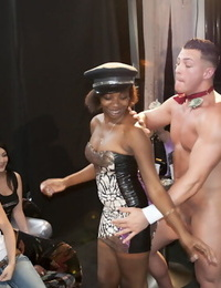 stunning bellowing having a clothed party with cock deepthroating