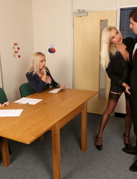 Dressed squealing from human resources unclothe an employee naked and deepthroat his shaft