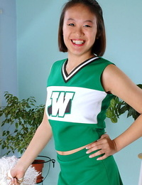 Unexperienced Asian freeing big boobs and ass from bap cheerleader uniform