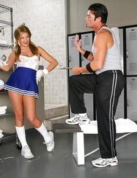 Sugary-sweet cheerleader Carmen McCarthy gets banged gonzo in the locker donks