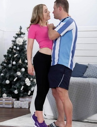 Young Euro girl Danielle Rose gets undressed and bitchy firm at Xmas