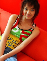 Adorable Japanese teenage Izumi hesitantly exposes her hooters and pubic hair