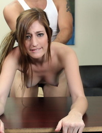 Congenital redhead cascades spunk from her newly jizzed upon face on audition bed