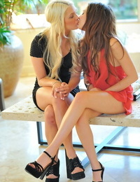 Horny teenage squealing have lesbian relations in public places