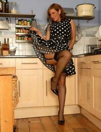 Blooming Mummy Jenny maze a no thong upskirt in a polka-dot dress