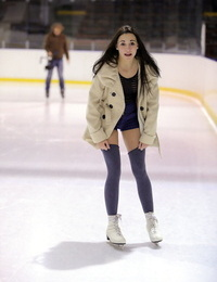 Ice skating Andys playthings her teenage cunt with a glass faux-cock at the rink