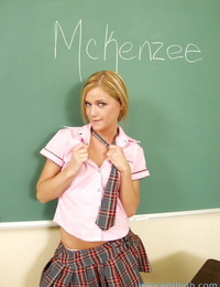 Diminutive blond student Mckenzee Miles wants some activity in the classroom