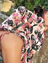 Warm European teen Danika fingers her humid pink hole & twat & tastes herself outdoors
