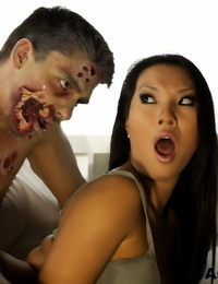 Handsome black-haired Asa Akira buxom cosplay zombie hard-on & nuts screwing on top