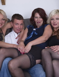 Clad UK housewives share their very first lesbian kisses in front of a lucky dude