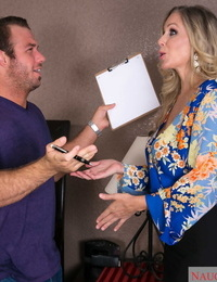 Captivating MILF with huge juggs Julia Ann stretches gams and gets stuffed good