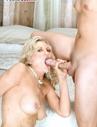 Buxomy granny Barushka goes vagina to mouth with a much junior man