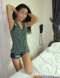 Small Filipina girl Alma drips cum from shaven vagina after sex with a Farang