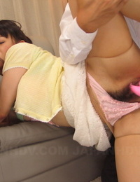 Japanese chick Reina Misaki oozes glue from pubic hair after MMF screwing