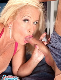 Granny Julia Pouch sucks youthful dude shaft & gets a drippy pussy creampie