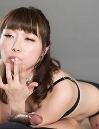 Adorable Japanese woman Katou Tsubaki blowing cock and slurping jizz after hand job