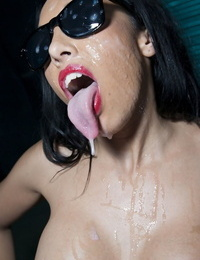 Engulfs Asian chick Rio Lee dribbles cum off her long tongue after nailing