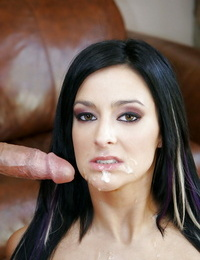 Pierced Presley Maddox on knees huge-chested cock & getting running in rivulets spunk on face