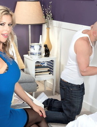 Buxomy light-haired Alexis Fawx gives a dirty BJ after banging a phat cock