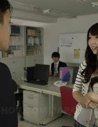 Japanese chick Yui Hatano spits cum into her palm after sucking cock at work