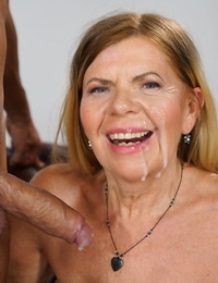 Bare granny gets cum of her face during PTM act with her toy boy