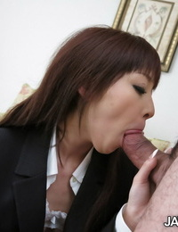 Japanese chick Miho Miyazawa leaks spunk from her cunt after a energetic fuck