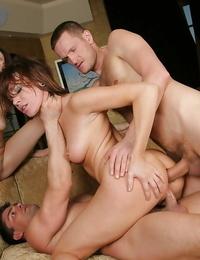 Promiscuous girls Sindee Jennings and Dana DeArmond taking fat shaft in asshole