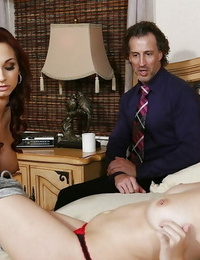 Older and younger sapphic sex act with Ashley Sinclair and Kimber Lee