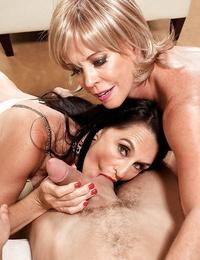 Horny grannies Lexi McCain and Rita Daniels blow off junior guy together