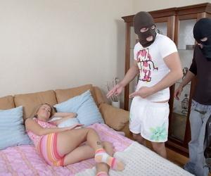 Sleeping ash-blonde is screwed by masked home invaders in her socks