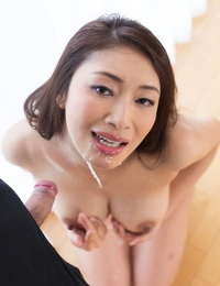 Japanese chick plays with cum in her throat after a POV buns