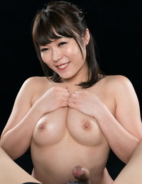 Naked Japanese chick coxes cum from a hard-on with a suck off and hj