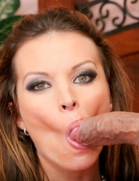 Hard-on sucking brown-haired Bailey Brooks displays jizz coated hooters & tongue