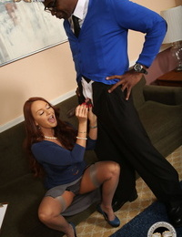 Redhead head real estate agent fulfills her fantasy of fucking two black dudes