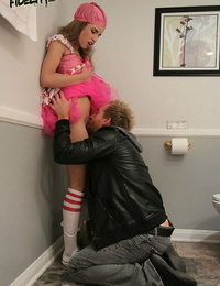 Tongues teenager Natasha White pulverizes a fat hard-on during tough sex in knee socks