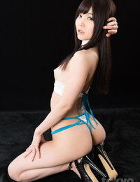 Pretty Japanese woman endures a messy mouth fucking on her knees
