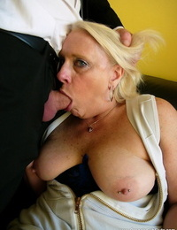 Molten granny Carol exposes huge saggy boobs & sans bra ass while railing cowgirl