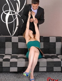 Long legged white girl Kandall N deep throats cock after being fastened with mouth spreader