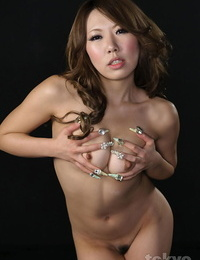 Naked Japanese ultra-cutie deepthroats the jism from a dick while on her knees