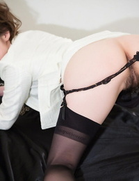 Japanese chick gags on a cock during oral sex wearing a dog collar and leash
