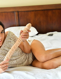 Dark-haired fledgling Miki knuckles her pussy before dildoing with a fat hook-up plaything