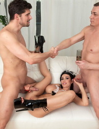 Busty Slovak maid Patty Michova gets arse nailed by two businessmen
