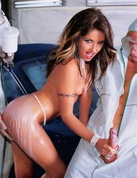 Super-fucking-hot porn industry star gets diminutive boobs glazed in cum & take a throatful in Polish
