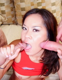 Asian woman Kammy deep-throats a duo of sensitized after a dual foray